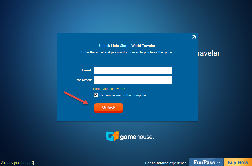 How do i unlock my purchased games gamehouse support